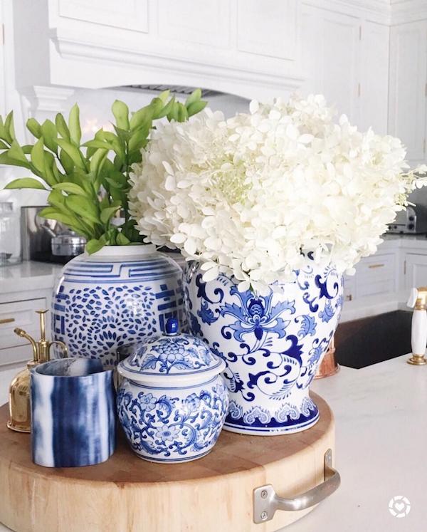 white hydrangea blue pots