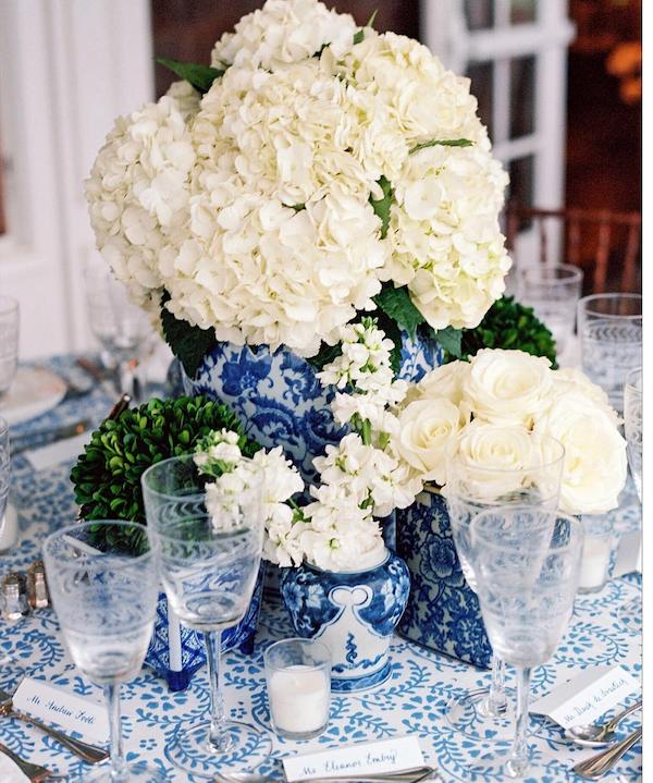 white hydrangeas blue ginger jars