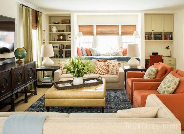 mixed eclectic furniture layout family room style