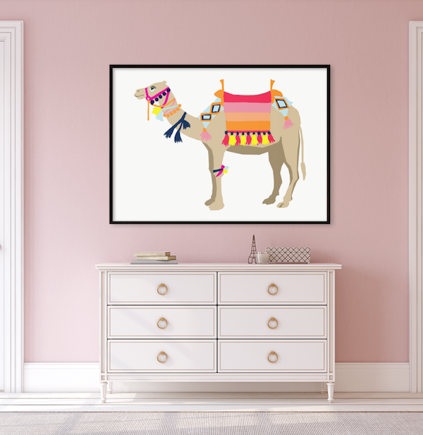 colorful camel art print