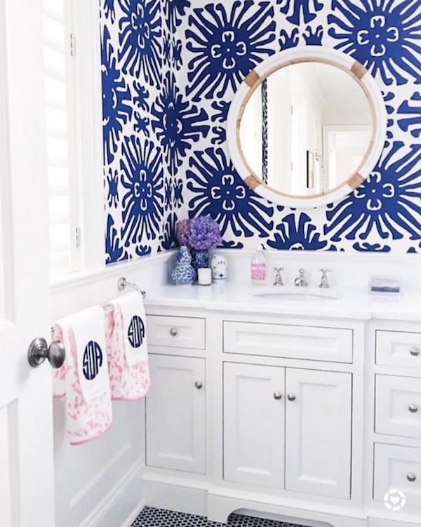 Quadrille fabric wallpaper