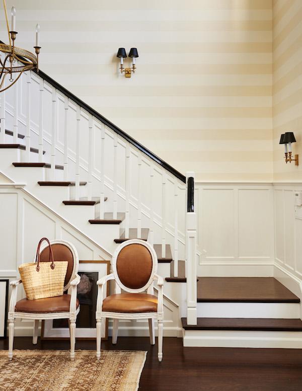 chic horizontal stripe wallpaper foyer