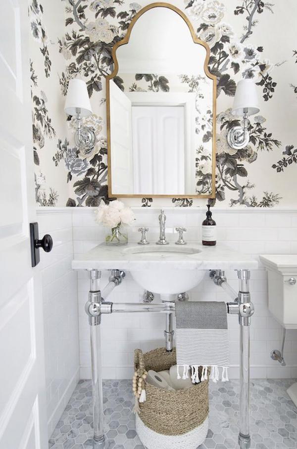 Wallpaper In Bathroom | Beach House Renovation Bathroom Wallpaper Options The Zhush